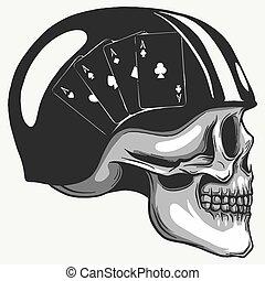 Skull in helmet with retro racer glasses. Vector illustration