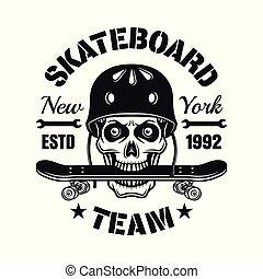 Skull in helmet with skateboard in teeth emblem