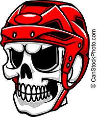 Skull in hockey helmet