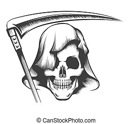 Skull in Hood with Scythe Tattoo