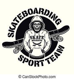 Skull in hoodie and skateboard vector emblem