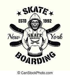 Skull in hoodie and two skate decks vector emblem