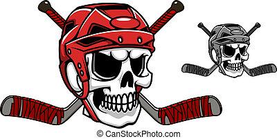 Skull in ice hockey helmet with crossed sticks