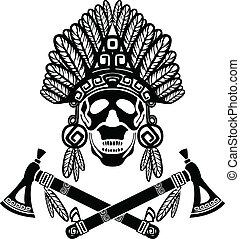 Skull in Indian headdress and crossed tomahawks