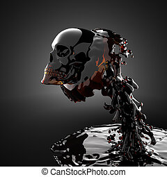 skull in liquid made in 3D graphics
