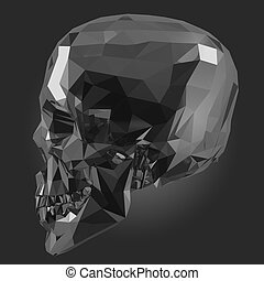 Skull in Low Poly Style on black background.3D