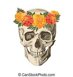 skull in marigolds - Decorative background with skull and ...