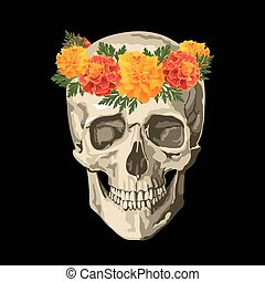 skull in marigolds wreath - Decorative background with skull...