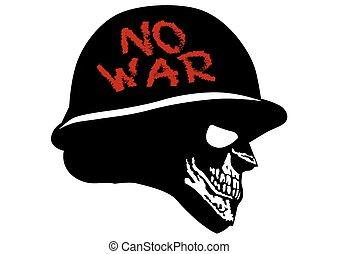 Skull in military helmet - Silhouette of a skull in the...