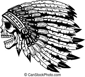 skull in native american indian chief headdress. Design element