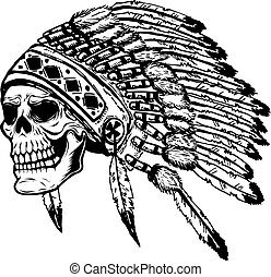 skull in native american indian chief headdress. Design...