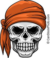 Skull in orange bandana - Spooky cartoon skull in orange...