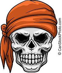 Skull in orange bandana - Spooky cartoon skull in orange...