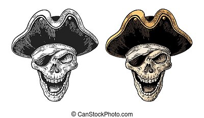 Skull in pirate clothes eye patch and hat smiling. Color and...