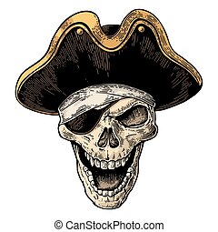 Skull in pirate clothes eye patch and hat smiling. Black...