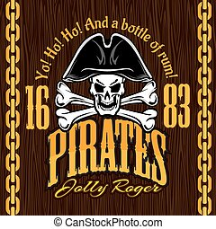 Skull in pirate hat - design for badges, logos and t-shirt...