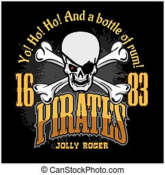 Skull in pirate hat - Jolly Roger for badges, logos and...