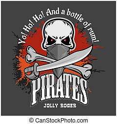 Skull in pirate hat - Jolly Roger for badges, logos and t-...