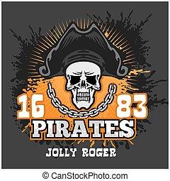 Skull in pirate hat - Jolly Roger