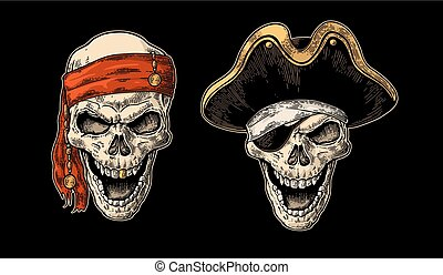 Skull in pirate with clothes eye patch, captain hat,...