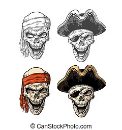 Skull in pirate with clothes eye patch, captainhat, bandana....
