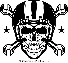 Skull in racer helmet with crossed wrenches. Design element for logo, label, emblem, sign. Vector illustration