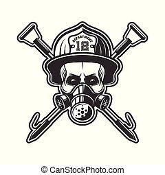 Skull in respirator and firefighter helmet vector