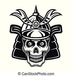 Skull in samurai helmet vector black illustration