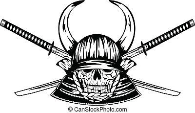 skull in samurai helmet with horns and samurai swords