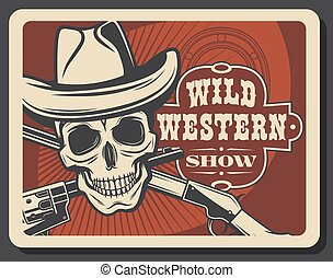 Skull in sheriff hat, crossed guns, wild west