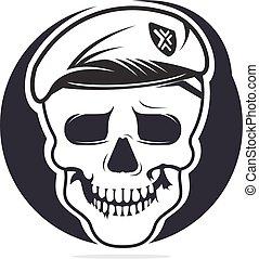 Skull in soldier helmet vector logo design.