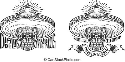 Skull in sombrero decorated with patterns