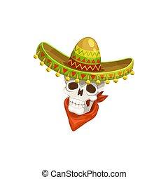 Skull in sombrero hat isolated calavera head