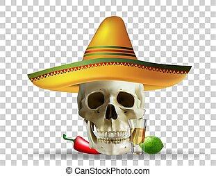 skull in sombrero. Mexican holiday. Realistic vector. Vector