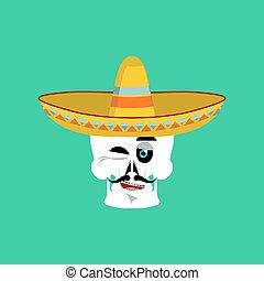 Skull in sombrero winking Emoji. Mexican skeleton for...