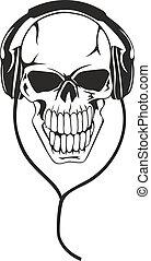skull in stereo ear-phones - Vector image of human skull in...