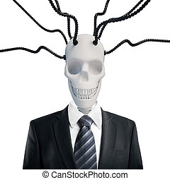 Skull in suit with wires