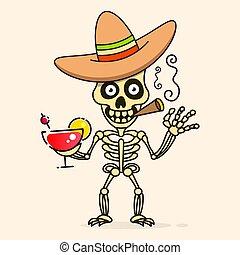 Skull In The Mexican Sombrero Hat. Vector