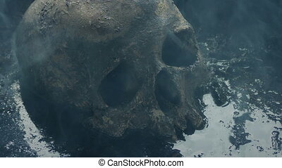 Skull In The Mud With Smoke Passing Over It