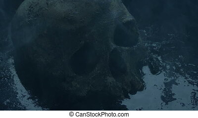 Skull In The Water On Smoky Battlefield