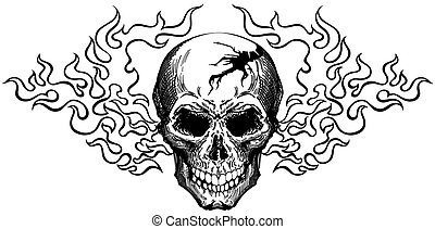 skull in tongues of flame. Black and white