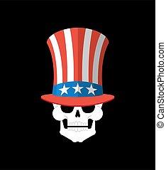 Skull in Uncle Sam hat. Patriot skeleton head