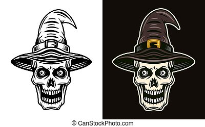 Skull in witch hat in two styles black and colored