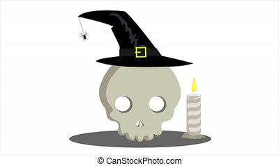 Skull in witch hat with candles, art video illustration.
