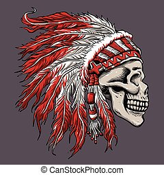 skull indian chief in hand drawing