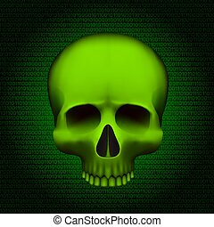 Skull is a program virus, On digital background. Vector ...