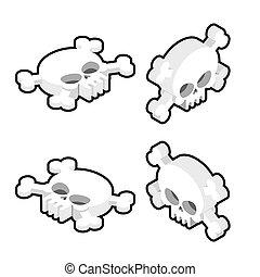 Skull isometric set. Head of skeleton and crossbones