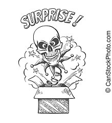 A Skull on a spring  jumps out of box. Isolated on a white background. Unexpected surprise. Vector Illustration