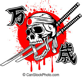 Vector illustration skull of kamikaze with bandage hachimaki on head samurai swords and hieroglyphs banzai
