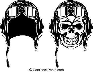 skull kamikaze in helmet - Vector illustration of skull of...